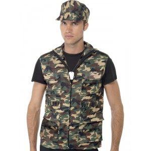 KIT ARMEE TM - Déguisement militaire de l'armée comprenant un gilet, une casquette et un collier avc plaque militaire.