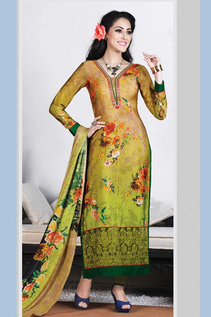 Green Crepe Churidar Suit