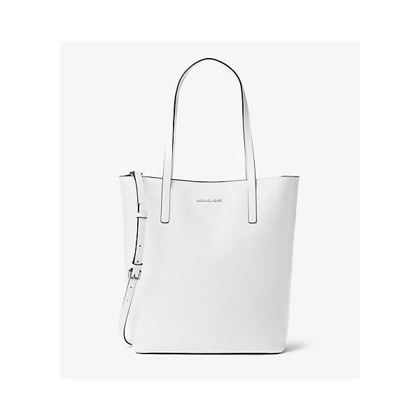 Michael Kors Emry Large Leather Tote, Optic White(White) ($298) ❤ liked on Polyvore featuring bags, handbags, tote bags, leather handbags, white leather handbags, white tote bag, laptop tote bag and michael kors purses