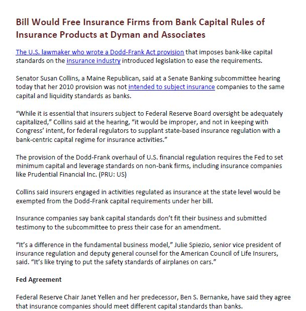 Bill Would Free Insurance Firms From Bank Capital Rules Of