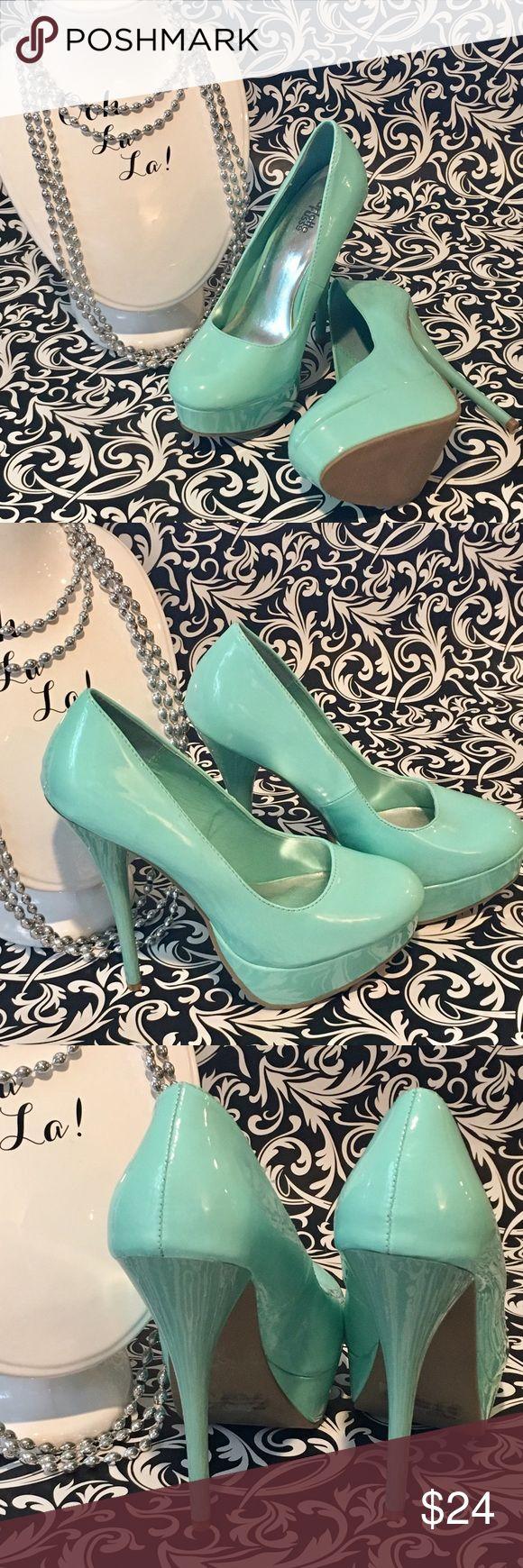 "Charlotte Russe aqua platform heels Charlotte Russe aqua platform heels, size 7. 5-1/2"" heel, 1"" platform Charlotte Russe Shoes Heels"