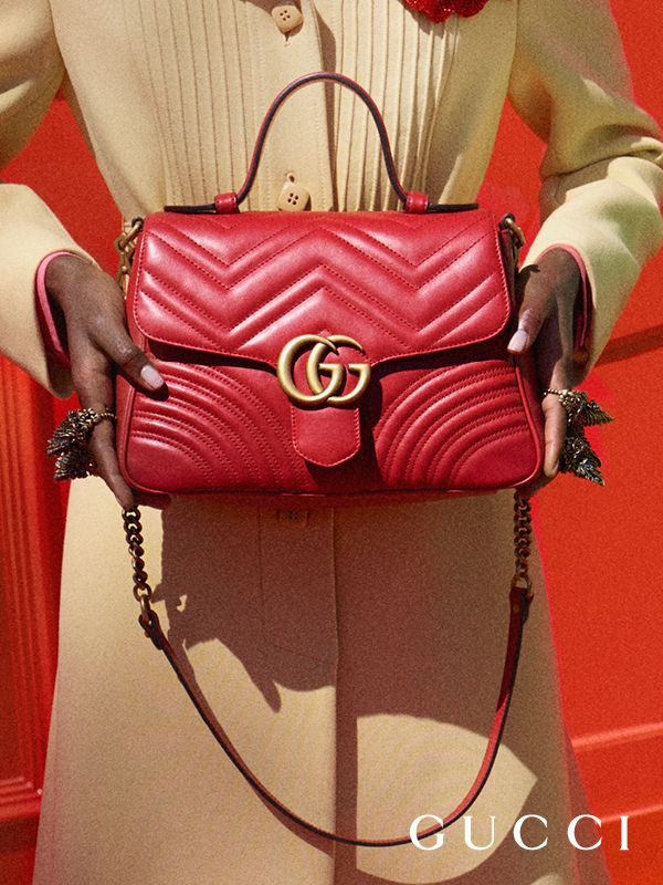 fd689cd60965 From Gucci Cruise 2018, new GG Marmont top handle bags feature a softly  structured shape and an oversized flap closure with Double G hardware by  Alessandro ...