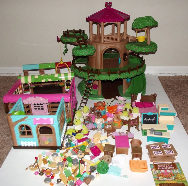 Huge Lot Of Lil Woodzeez Playsets Animals Figures Accessories Furniture