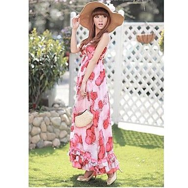 Bohemia double v-neck big flower skirt Large pendulum beach dress Chiffon Beach Dress 2015 – $39.99
