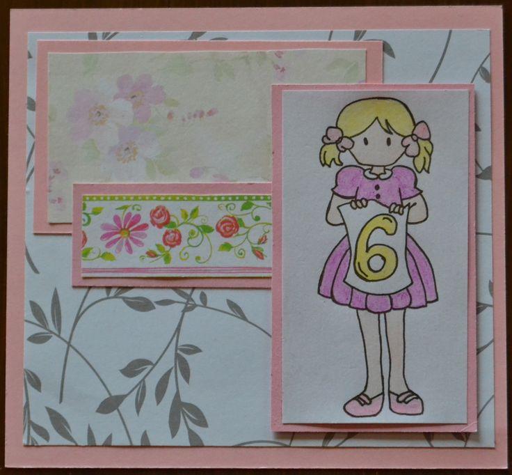 Onnittelu kortti 6 vuotiaalle tytölle, birthdaycard for 6 year old girl