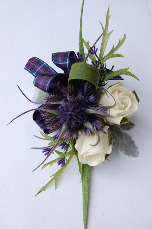Spiky Thistle, Rose  Heather Corsage, wedding flowers, kilts. | eBay