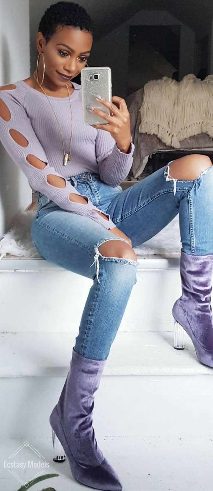 Lavender Vibes // Booties: @simmishoes // Fashion Look by KeKe Cameron