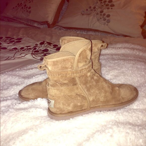 Women's Uggs/Size 8 These are camel colored Ugg boots. Each boot has two buckle closures and the insides (bottoms) are lined w/sheepskin. These are unique and as comfortable as the originals!! UGG Shoes Ankle Boots & Booties