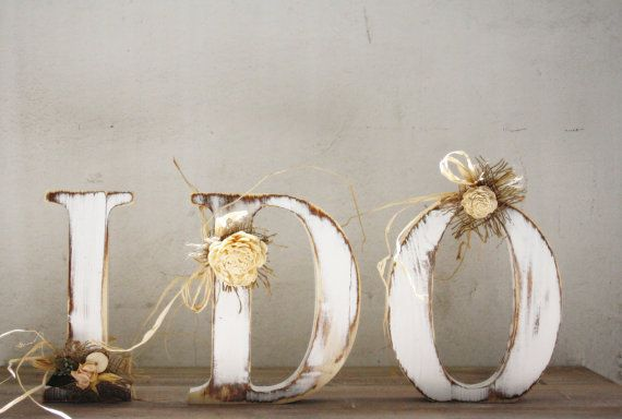 I DO Solid Wooden Rustic Shabby Wedding Letters by CozyHomeStore, $45.00