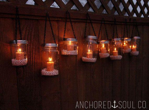 Best 25 hanging tea lights ideas on pinterest outdoor rustic mason jar hanging outdoor lantern lights set of 10 includes candles and jar filler aloadofball Image collections