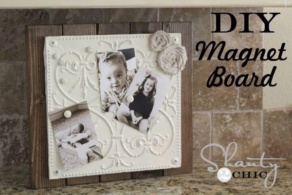 DIY $12 Magnetic Memo Board: Diy Home Decor, Magnets Memo, Magnets Boards, 12 Tins, Tins Magnets, Savory Recipes, Diy 12, Memo Boards, Tins Tile