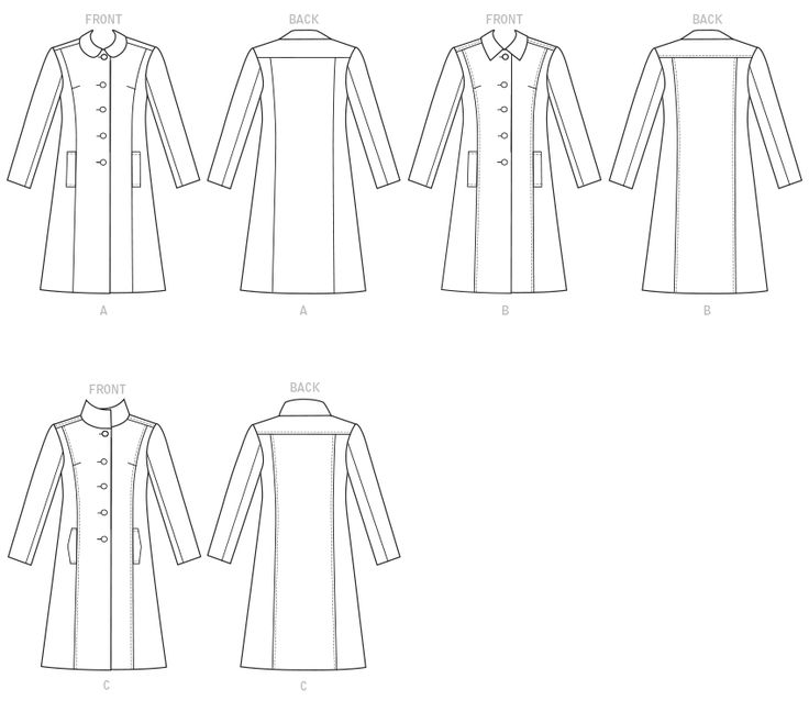 Butterick 6385 Misses' Funnel-Neck, Peter Pan or Pointed Collar Coats