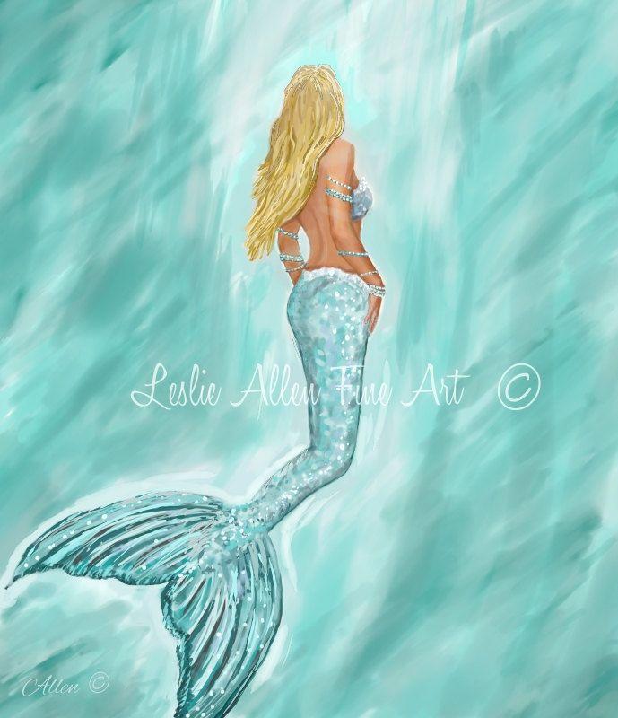 """Mermaid Art Print Mermaid Painting Mermaid Decor Mermaids Siren Beach Art Ocean Mermaid Decor  """"MERMAID AQUAMARINE"""" Leslie Allen Fine Art by LeslieAllenFineArt on Etsy"""