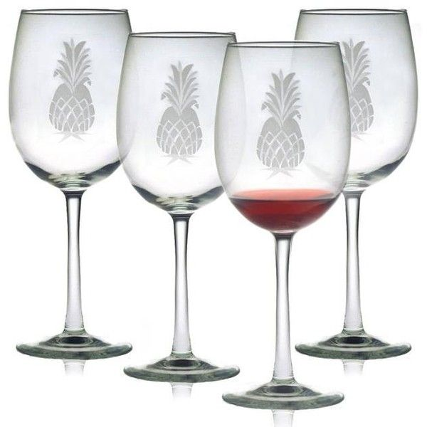 INSTEN Pineapple Collection Wine Glasses ($40) ❤ liked on Polyvore featuring home, kitchen & dining, drinkware, clear, colored wine glass, coloured wine glasses, colored wine glasses, colored glass wine glasses and set of 4 wine glasses