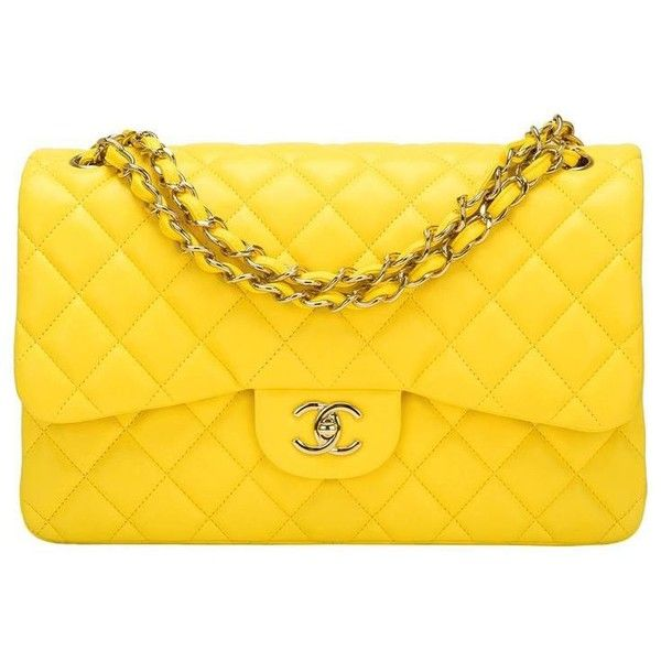 Chanel Yellow Quilted Lambskin Jumbo Classic Double Flap Bag ($98) ❤ liked on Polyvore featuring bags, handbags, yellow handbags, yellow purse, lambskin leather purse, shoulder handbags and chanel purse