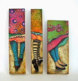 Son tres cuadros realizados con la técnica de collage y mixta.   Con medidas entre 8 a 20 cm de ancho y entre 30 a 40 cm de alto.   Me en...