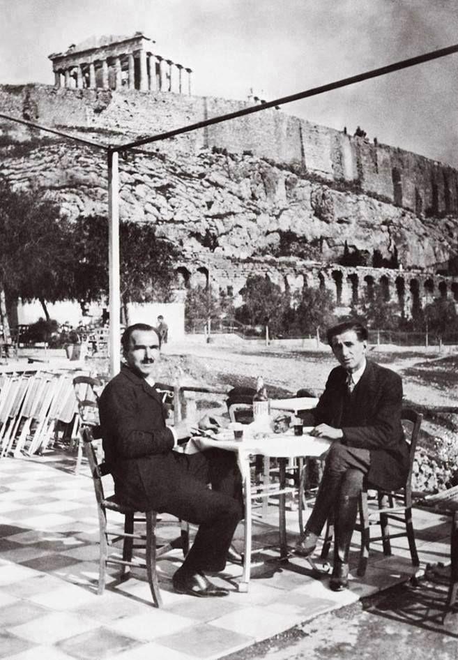 Nikos Kazantzakis and Romanian writer Panait Istrati, under the Acropolis (1928)