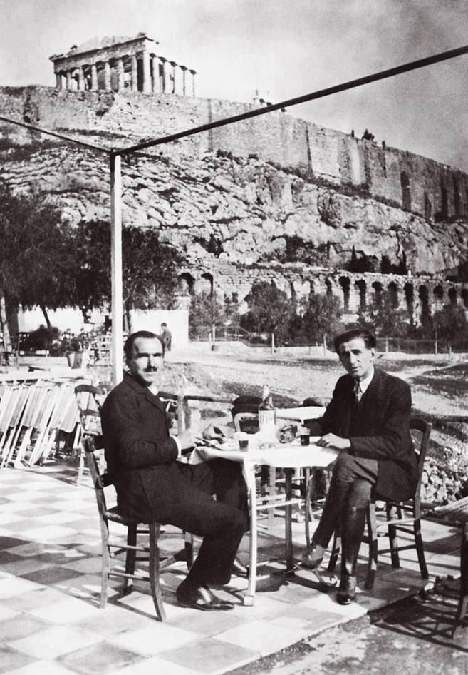 Nikos Kazantzakis and Romanian writer Panait Istrati, under the Acropolis (1928)