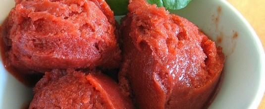 Sorbet fraises-basilic