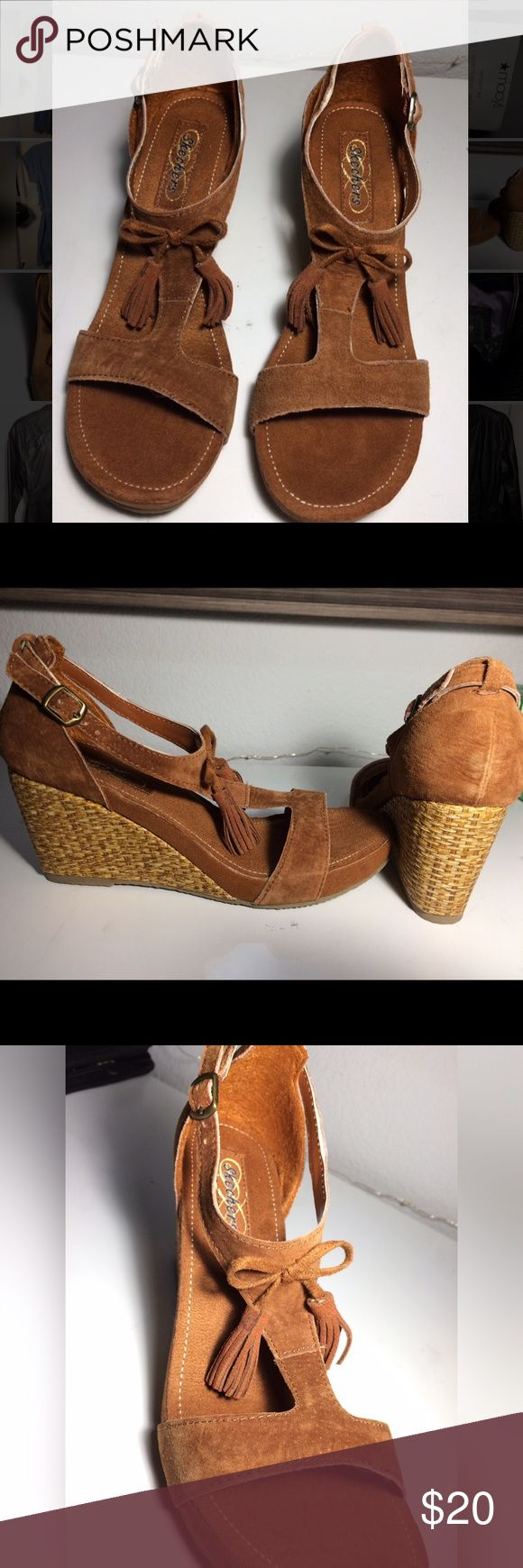 Women's Skechers wedge suede sandals Women's size 8 (US) Modiste Giddy Suede T-Strap. Never worn, like brand new without box. Cute and casual sandal with a 3 in. heel. Skechers Shoes Wedges