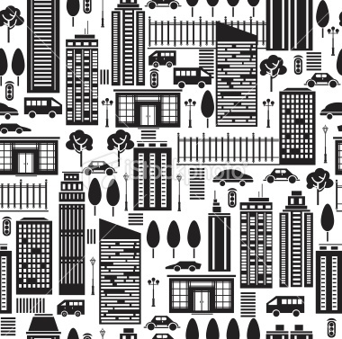 Seamless pattern of city. Royalty Free Stock Vector Art Illustration