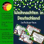 Die 8 Infokarten mit Fakten zum Thema Weihnachten in Deutschland eignen sich für Diktate, Abschreibübungen oder um Sprechanlässe zu schaffen. Einsetzbar im DaF-Unterricht ab Niveau A2 bzw. in der Grundschule ab Klasse 4.