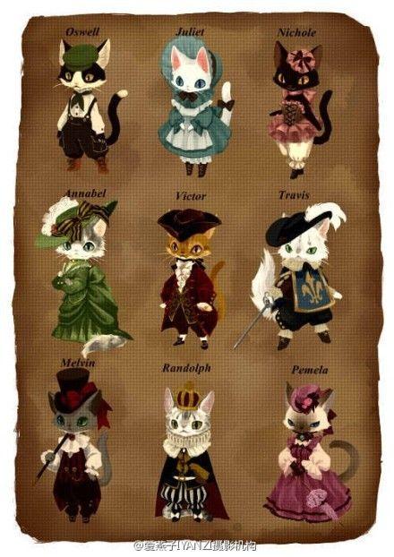 喜欢英国的你,又怎能不知道英国皇室的服装呢?插画师用猫猫的可爱形象为你演绎英国皇室不同角色的复古装扮