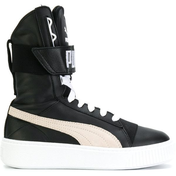 Puma Platform Boots (€145) ❤ liked on Polyvore featuring shoes, boots, black, puma high tops, black shoes, platform shoes, puma shoes and puma boots