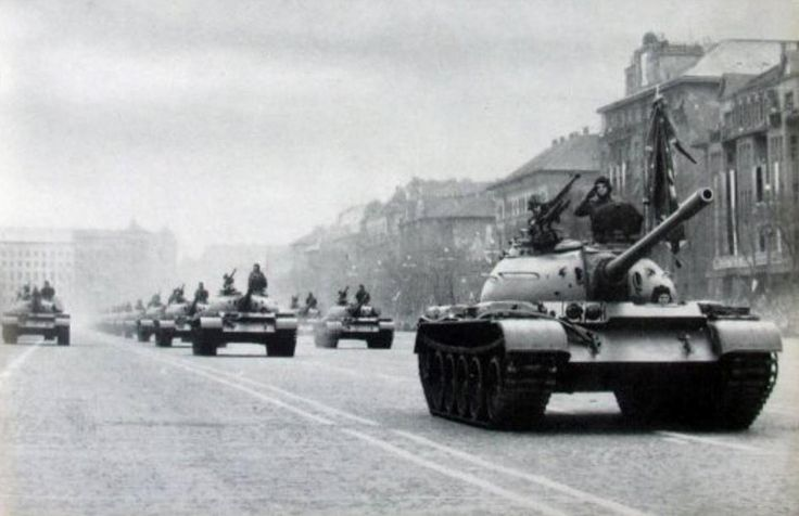 T-54 tanks of the Hungarian People's Army on a military parade in Budapest.