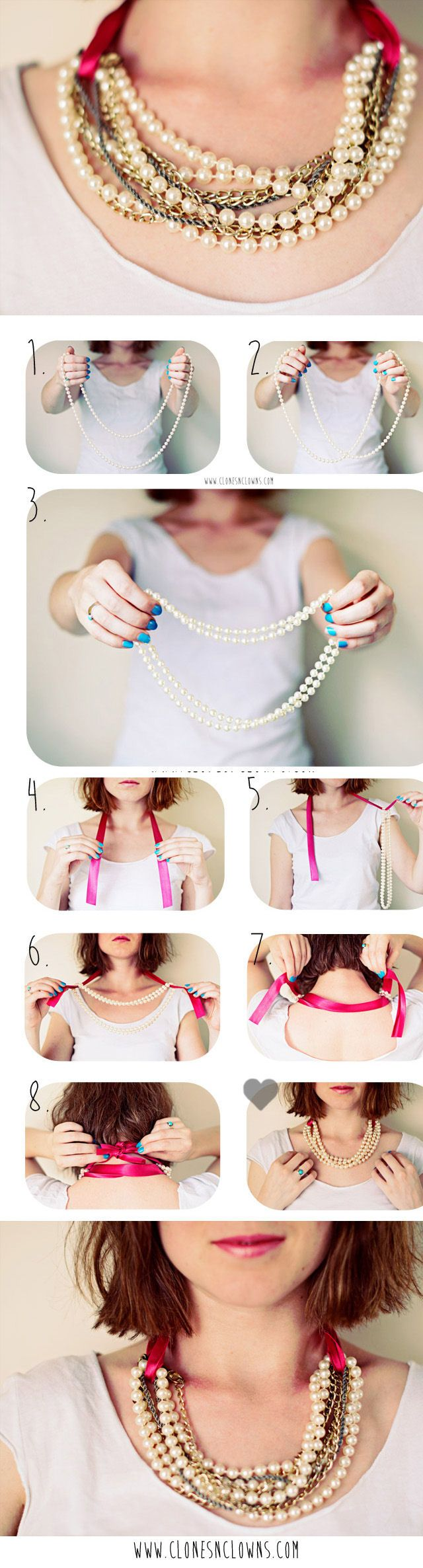 DIY Pearl Necklace In 3 Minutes diy craft crafts craft ideas easy crafts diy ideas crafty easy diy diy jewelry craft necklace diy necklace jewelry diy fashion crafts