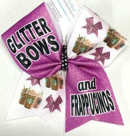 Bows by April - Glitter Bows and Frappucinos Glitter Cheer Bow, $15.00 (http://www.bowsbyapril.com/glitter-bows-and-frappucinos-glitter-cheer-bow/)