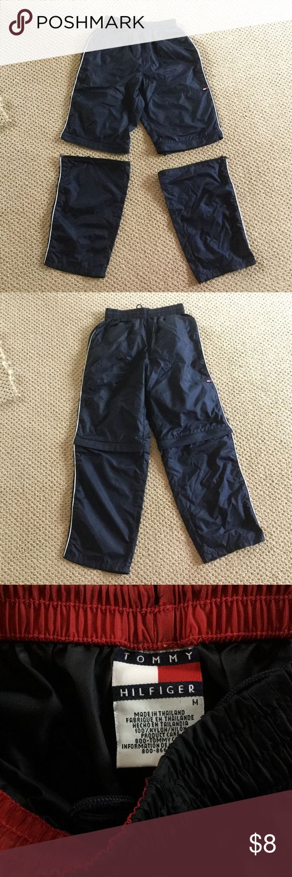 Tommy Hilfiger pants convert to shorts Tommy Hilfiger Windbreaker pants w/zippers to convert to shorts for boy's size M.  In excellent condition. Tommy Hilfiger Bottoms Sweatpants & Joggers