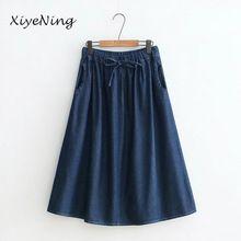 Plus Faldas Tamaño de Mujeres Denim de Alta Cintura ocasional Falda Larga Femenina Elegante de Las Señoras Jeans Vintage Faldas Azul Marino Estilo Japonés(China)