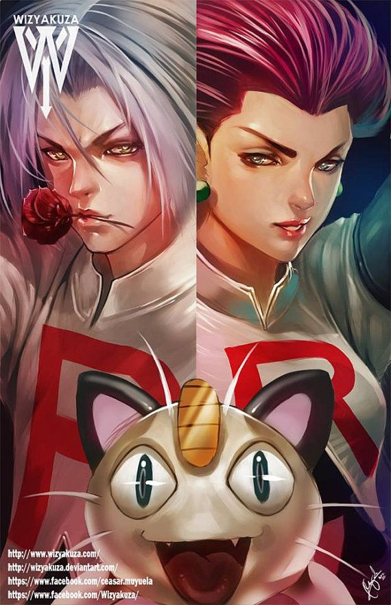 Jessie James and Meowth Team Rocket Split Pokemon by Wizyakuza
