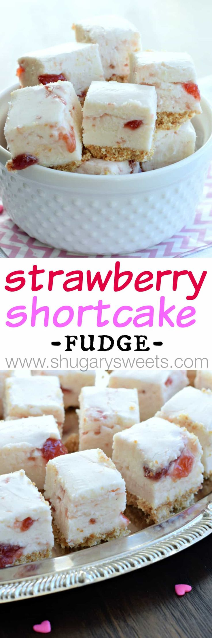 Strawberry Shortcake Fudge: a sweet fudge with a cookie crust, and strawberry preserves swirled into a creamy white chocolate fudge!