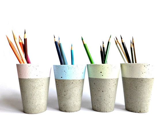 Pastel Concrete Pencil Holder Modern Cup Home Decor Minimalist Simple - Simple and minimalist design. - It can become the unique element of your