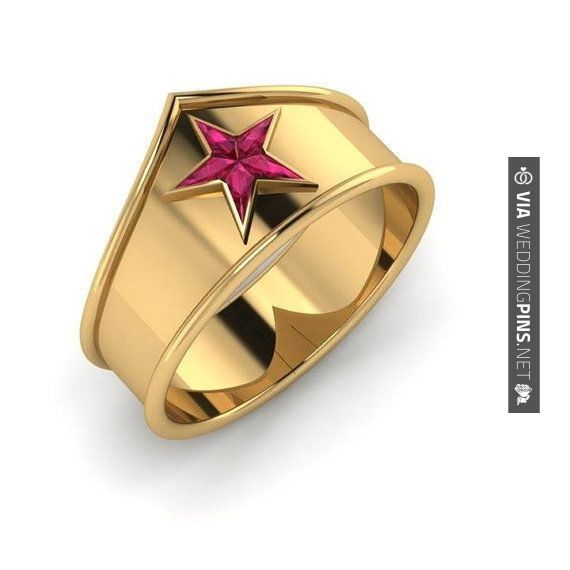 Fantastic! - Anillos de Boda Wonder Woman | 11 Fabulously Geeky Wedding Rings | CHECK OUT THESE OTHER AMAZING PHOTOS OF NEW Anillos de Boda OVER AT WEDDINGPINS.NET | #AnillosdeBoda #Anillos #weddingrings #rings #engagementrings #boda #weddings #weddinginvitations #vows #tradition #nontraditional #events #forweddings #iloveweddings #romance #beauty #planners #fashion #weddingphotos #weddingpictures