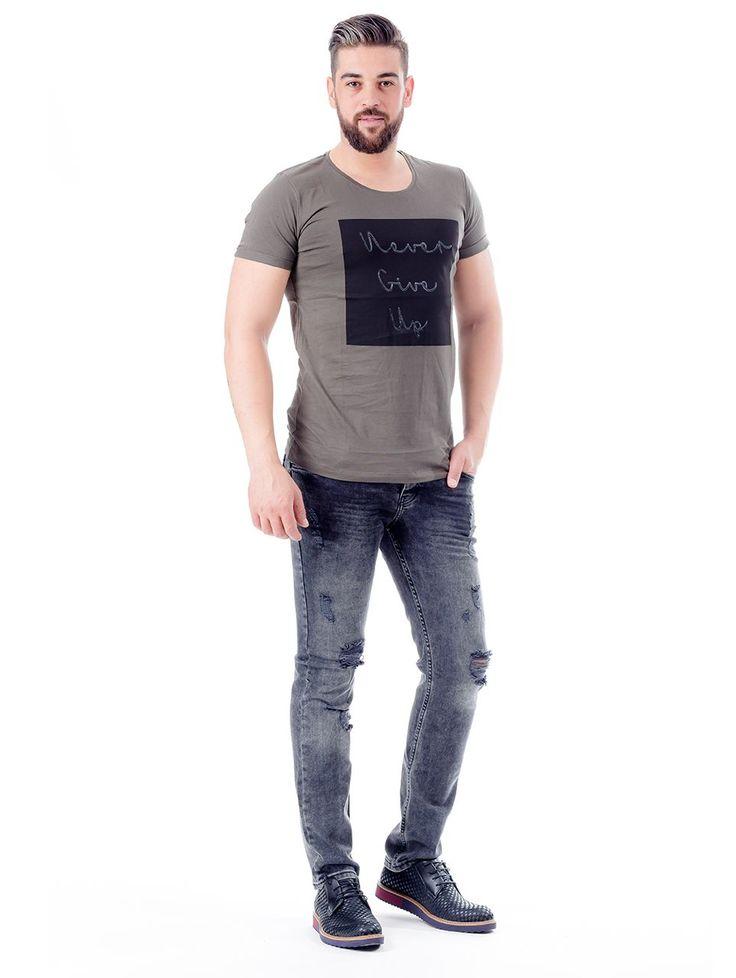 Modagen.com | Erkek Giyim, Erkeklere Özel Alışveriş Sitesi ~ Haki Yeşil Siyah Baskılı Erkek Tişört