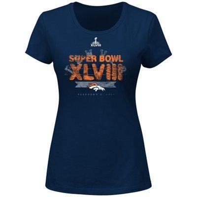 Denver Broncos Super Bowl XLVIII Ladies At The Show VI T-Shirt - Navy Blue