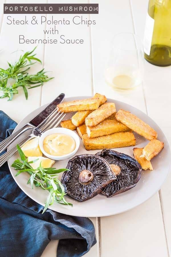 Portobello Mushroom Steak with Polenta Chips and Bearnaise recipe - vegetarian steak and chips | Recipe at DeliciousEveryday...