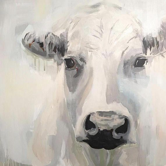 A Rustic Abstract Cow In Blue And Gray Farmhouse Art Etsy Cow Painting Cow Art Farmhouse Art