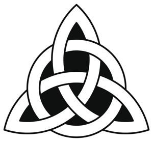 This knot is believed to signify the the Pagan trinity wherein the 3 forms may represent the Mother, Crone, and Maiden. This symbol may also relate to the three Bridgits, the three aspects being Art, Healing, and Smithing. Bridget is one powerful goddess who embodies the three aspects mentioned. There is usually a circle around the triquetra which symbolizes protection, eternity, and the infinite. Circles around the Celtic knots depict spiritual unity.