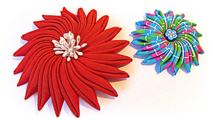 DIY: Flores uña de gato. Ribbon flowers