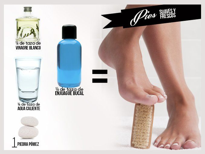 Tratamiento casero para pies secos (Vinagre+Agua+Enjuague Bucal+Piedra Pómez)