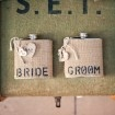 Vintage Wedding Flasks with Burlap