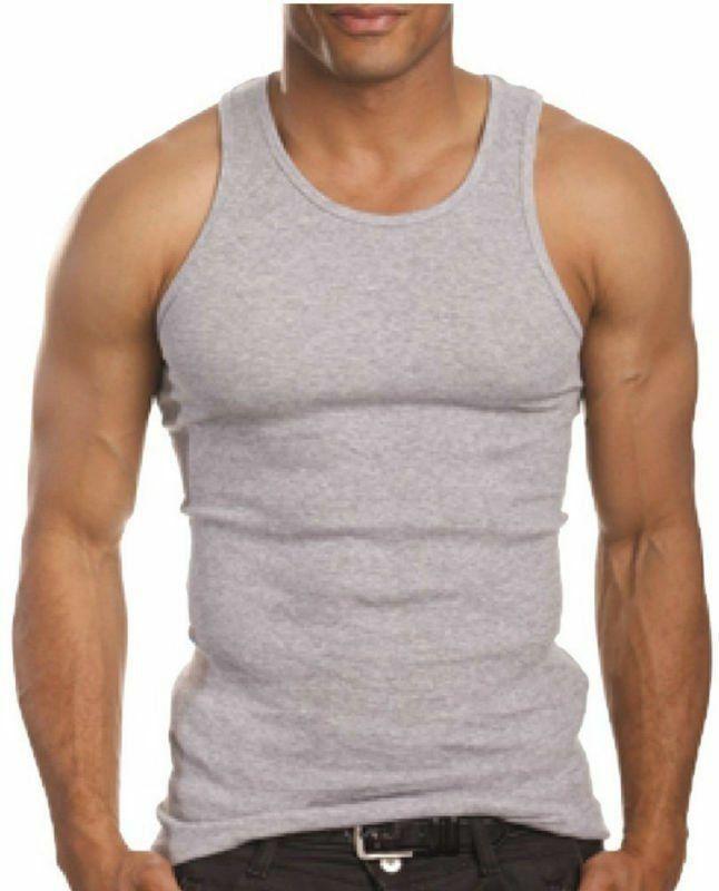Men Tank Top T-Shirt Ribbed  A-Shirt Sleeveless Fashion Casual Gym Bodybuilding