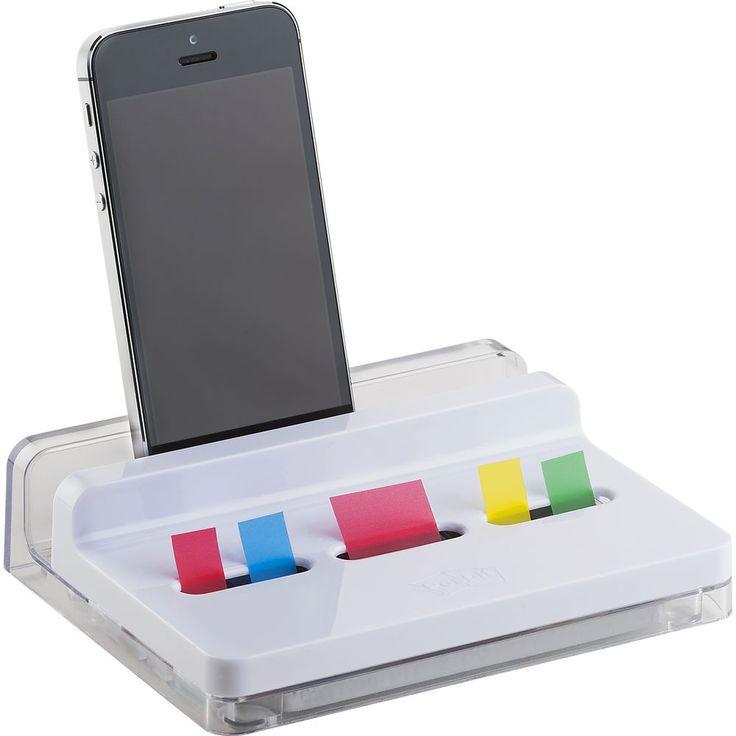 Post-it® Dispensador de marcadores de índice para secretária, com 2 embalagens de 50 marcadores de índice médios de 25,4 x 43,2 mm e 4 embalagens de 35 marcadores pequenos de 11,9 x 43,1 mm em várias cores
