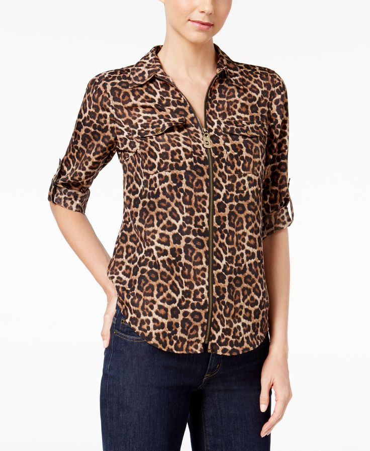 Michael Michael Kors Animal-Print Zip-Up Utility Shirt