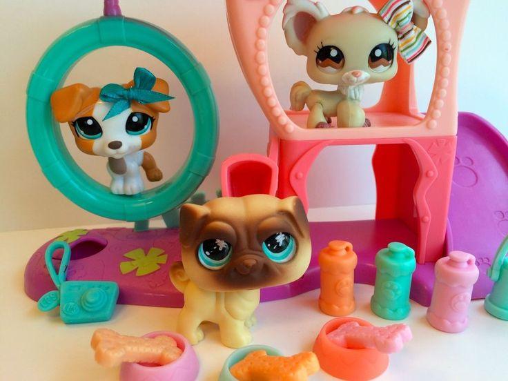 Littlest Pet Shop Trio of Rare Dogs #623/1093/1199 w/Playground & Accessories #Hasbro