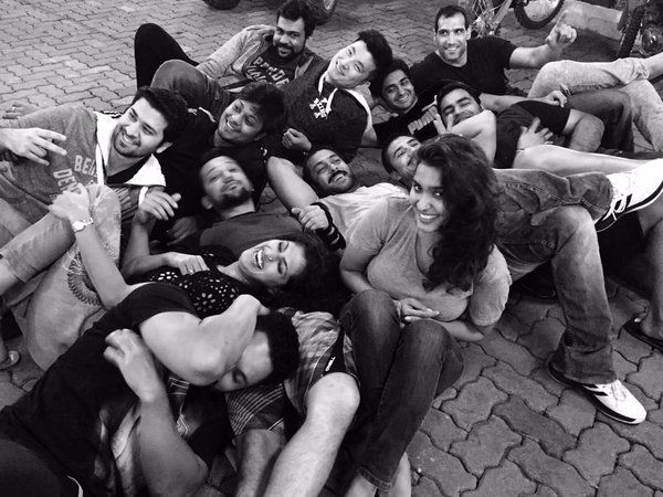 "Check out! Salman Khan with the crew of his upcoming movie ""Sultan"""
